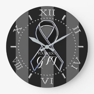 Personalized Black Ribbon Awareness on a Large Clock