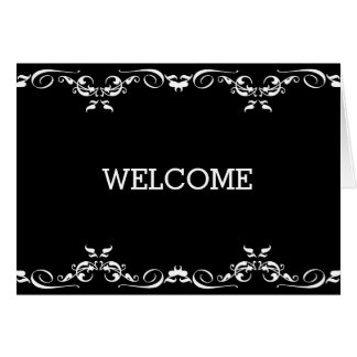 Personalized Black Swirl Boarder Welcome Card