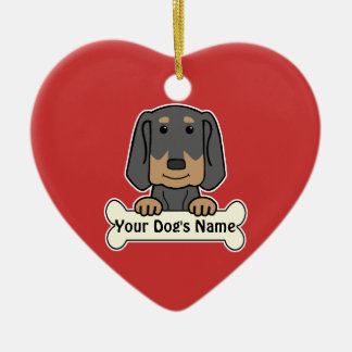 Personalized Black & Tan Coonhound Ceramic Heart Ornament