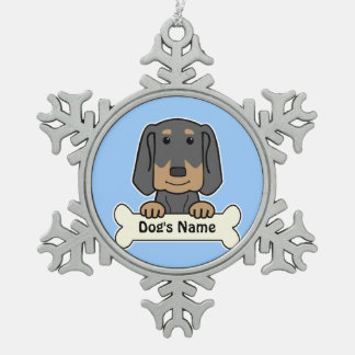 Personalized Black & Tan Coonhound Pewter Snowflake Ornament