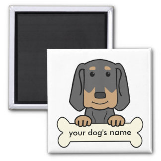 Personalized Black & Tan Coonhound Square Magnet