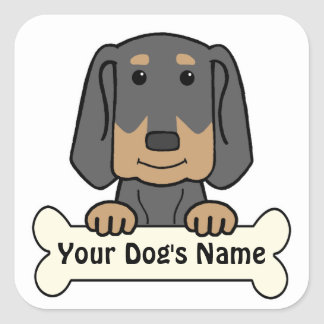 Personalized Black & Tan Coonhound Square Sticker