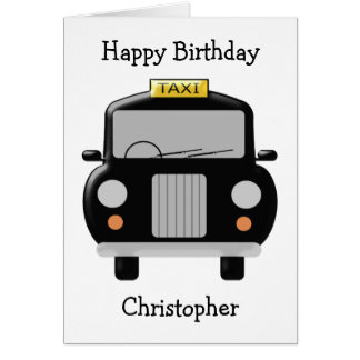 Personalized Black Taxi Birthday Card