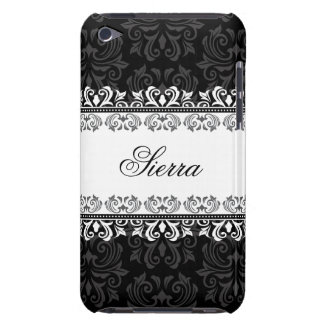 Personalized black trendy damask iPod touch case