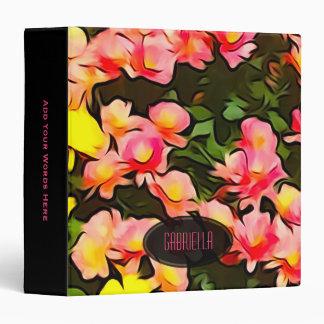 Personalized: Black Trim Fall Flower Print Binder
