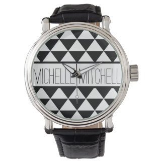 Personalized Black Tristack Wrist Watches