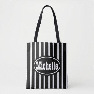 Personalized Black V Stripe Western Tote Bag