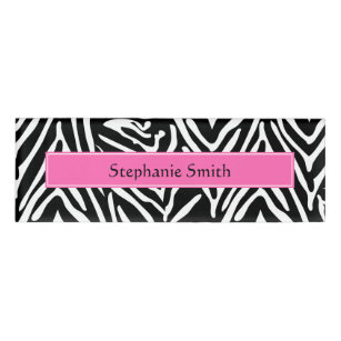 Personalized Black White And Hot Pink Zebra Print Name Tag