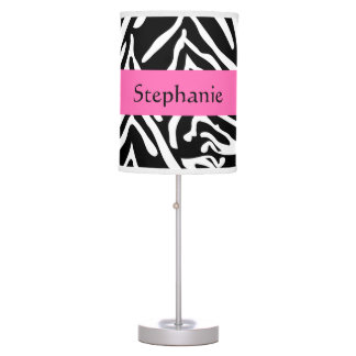 Personalized Black, White and Hot Pink Zebra Print Table Lamp