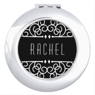 Personalized Black & White Art Deco Compact Mirrors