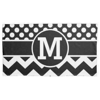 Personalized Black White Chevron Polka Dots Pillowcase