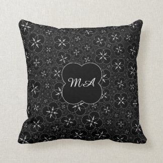 Personalized Black White Crop Circle Throw Pillow