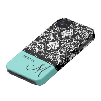 Personalized black & white damask with teal blue Case-Mate iPhone 4 case