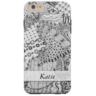Personalized Black & White Doodled, Tangle ZIA, 01 Tough iPhone 6 Plus Case