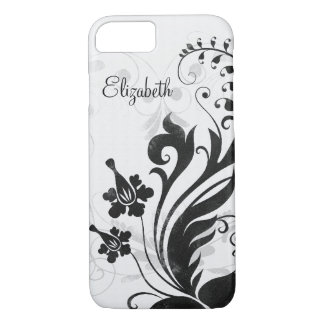 Personalized Black White Floral iPhone 8/7 Case