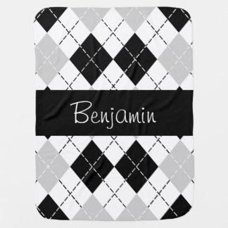 Personalized Black White Gray Argyle Baby Blanket