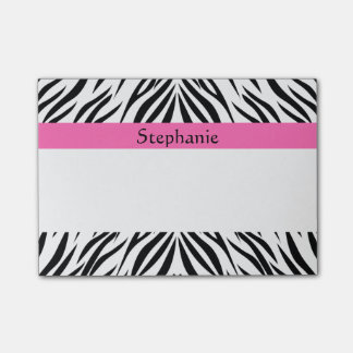 Personalized Black, White, Hot Pink Zebra Print Post-it Notes