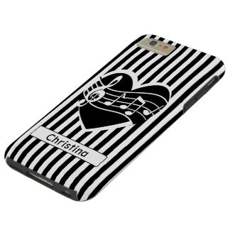 Personalized Black White Music Notes Heart Stripes Tough iPhone 6 Plus Case