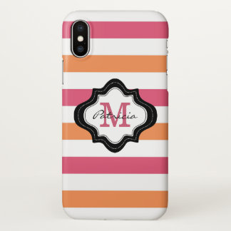Personalized Black White Pink Stripes Monogram iPhone X Case