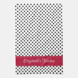 Personalized Black White Polka Dot Red Kitchen Towel