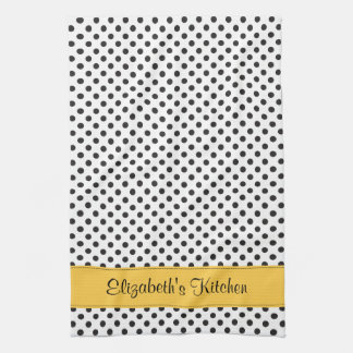 Personalized Black White Polka Dot Yellow Kitchen Towel