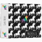 Personalized Black & White Rainbow Unicorn Pattern 3 Ring Binder