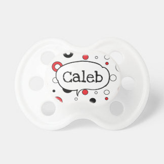 Personalized Black White Red Dot Boy Baby Pacifier