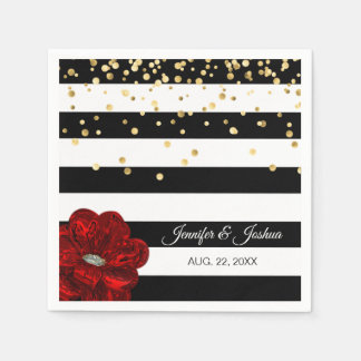 Personalized Black White Red Roses Gold Wedding Paper Napkin