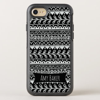 Personalized Black & White Rows of Doodle Patterns OtterBox Symmetry iPhone 8/7 Case