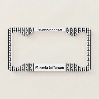 Personalized Black & White Skeleton Radiographer Licence Plate Frame