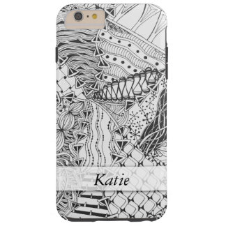 Personalized Black & White Tangle Zendoodle ZIA 10 Tough iPhone 6 Plus Case