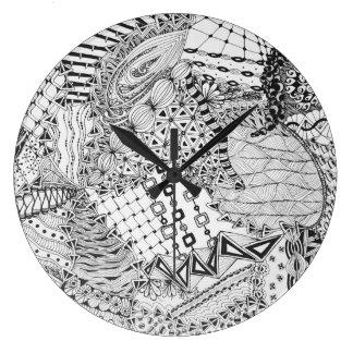 Personalized Black & White Zendoodle Tangle ZIA 01 Large Clock