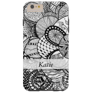 Personalized Black & White Zendoodle Tangle ZIA 06 Tough iPhone 6 Plus Case
