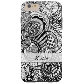 Personalized Black & White Zendoodle Tangle ZIA 08 Tough iPhone 6 Plus Case