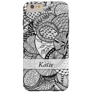 Personalized Black & White Zendoodle Tangle ZIA 09 Tough iPhone 6 Plus Case
