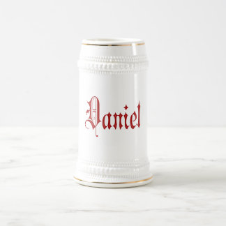 Personalized Blackletter Parchment Daniel Red Beer Stein