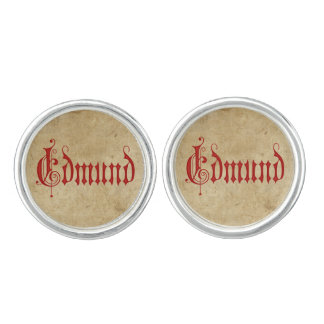 Personalized Blackletter Parchment Edmund Red Cuff Links