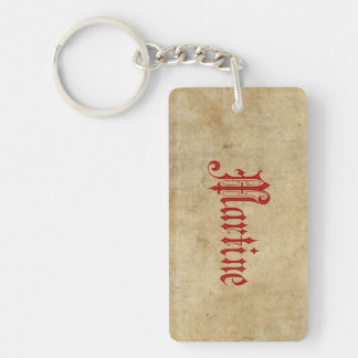 Personalized Blackletter Parchment Martine Red Keychain