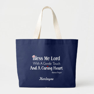 Personalized Bless Me Lord Nurses Prayer Large Tote Bag