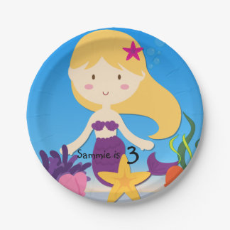 Personalized Blond Mermaid Birthday Paper Plates 7 Inch Paper Plate