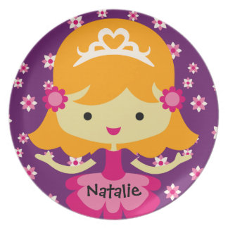 Personalized Blond Princess Plate