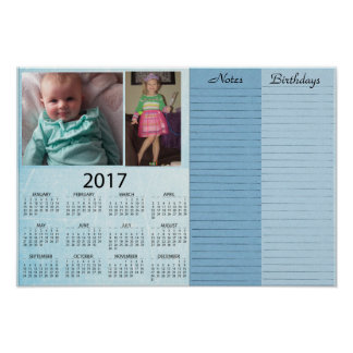 Personalized Blue 2017 Calendar with Baby Photo Poster