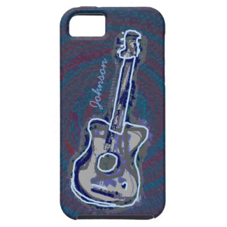 personalized blue acoustic guitar iPhone 5 case