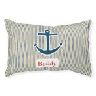 Personalized Blue Anchor Dog Bed