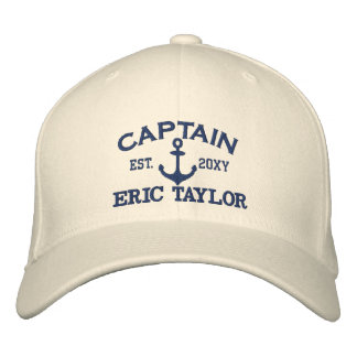 Personalized Blue Anchor Nautical Embroidered Hat