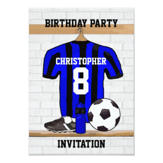 """Personalized Blue and Black Football Soccer Jersey 5"""" X 7"""" Invitation Card"""