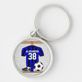 Personalized Blue and Black Striped Soccer Jersey Keychain