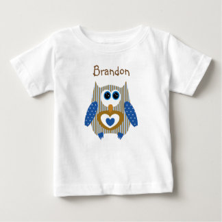 Personalized Blue and Brown Owl Baby Shirt