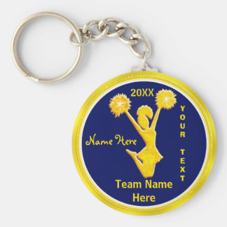 PERSONALIZED Blue and Gold Cheap Cheerleader Gifts Basic Round Button Keychain