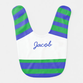 Personalized Blue and Green Baby Boy Bib